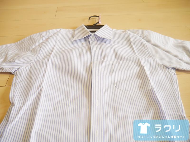 クリーニングから仕上がったワイシャツの折ジワ