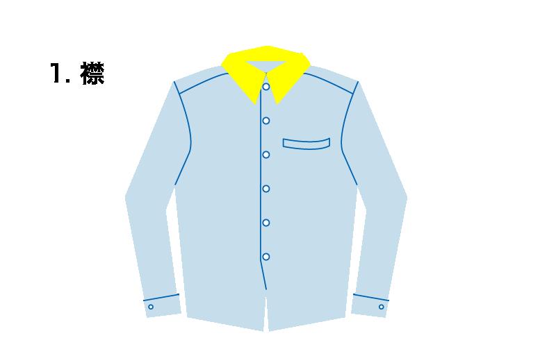 ワイシャツの襟部分のイラスト